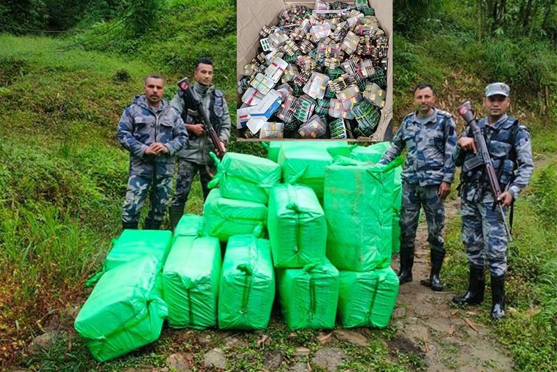 पशुपतिनगर र हिले तस्करीको ट्रान्जिट, सशस्त्रका डिआइजीले खटाएको टोलीद्वारा ८० लाख बढीको औषधि बरामद